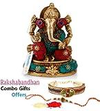 Collectible India Brass Hindu God Ganesha Idol Handmade Religious Statue With Raksha Bandhan Rakhi Combo Gift For Brother & Bhabhi,rakhi for bhabhi,bhaiya bhabhi rakhi set,rakhi gifts for brother and bhabhi,rakhi gifts,rakhi gift for brother combo