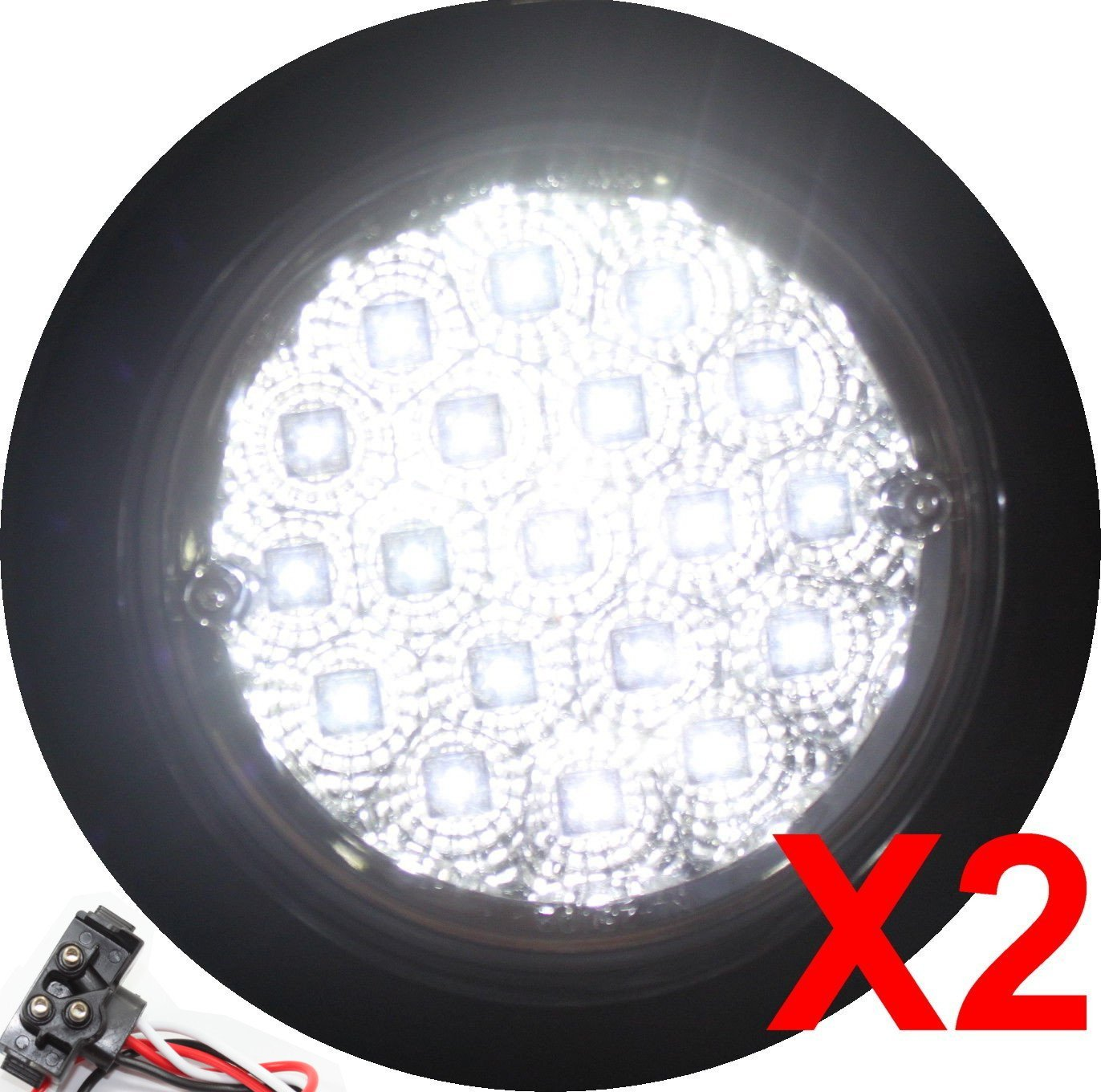 """Pair of 4"""" Round LED Back-up Reverse Light Kits Extra Bright White with Grommet, Plug Clear Lens Truck Trailer RV Pack of 2 25114C-WK"""