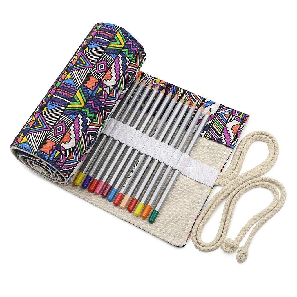 FridCy Canvas Colored Pencil Roll Wrap 72 Slot-Adult Coloring Pencil Holder Organizer for 72 Colored Pencils, NO Pencils Pencil Case