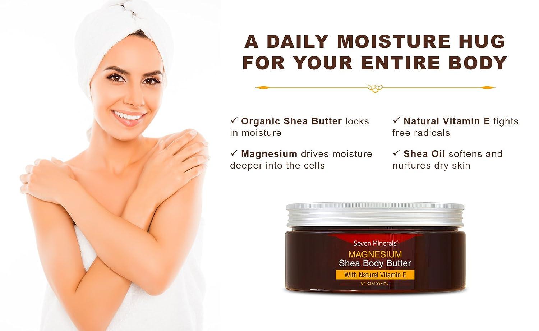 NUEVA Mantequilla Orgánica de Karité Enriquecida con Magnesio - Hidratante diario saludable + crema para piel extra seca + optimizador de ácido hialurónico ...