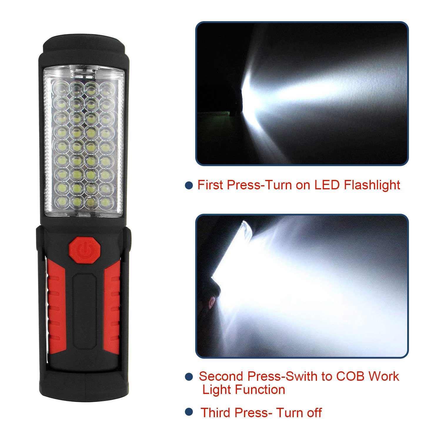 Household Workshop Automobile Camping Emergency Use SunTop Led Work Light,Rechargeable LED Portable Inspection Lamp Torch Camping Light with Magnetic Clip