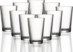 Circleware Hoop Huge Set of 10 Juice Drinking Glasses, Heavy Base Tumbler Beverage Ice Tea Cups, Home & Kitchen Entertainment Glassware for Water, Beer, Whiskey Bar Decor, 7 oz, Clear