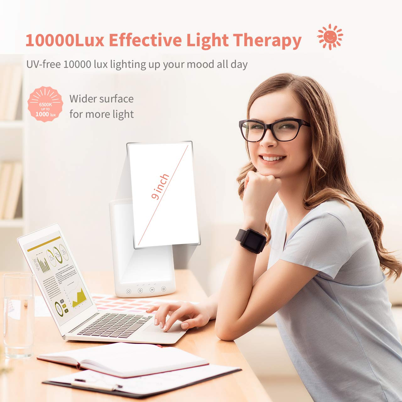 LITOM Light Therapy Lamp, 10000 Lux UV-free LED White Therapy Light with Adjustable Brightness and Color Temperature, 4 Timer Settings, Memory Function, USB Powered for Home or Office