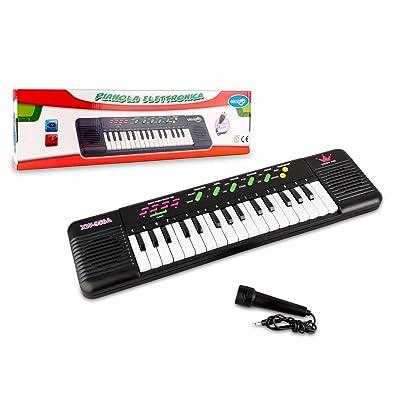 371466 Teclado de juguete con micrófono CIGIOKI 32 teclas con 8 melodías: Juguetes y juegos