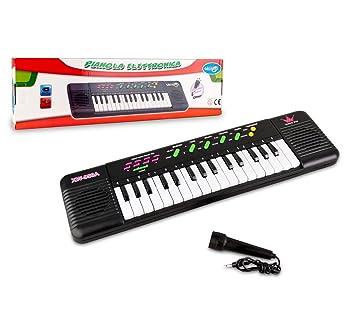 371466 Teclado de juguete con micrófono CIGIOKI 32 teclas con 8 melodías: Amazon.es: Juguetes y juegos