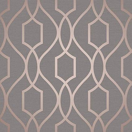 Apex Trellis Copper Charcoal Wallpaper