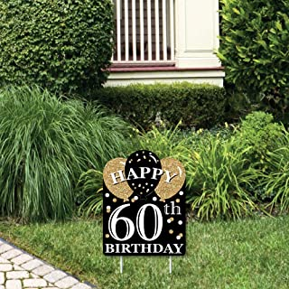 product image for Big Dot of Happiness Adult 60th Birthday - Gold - Outdoor Lawn Sign - Birthday Party Yard Sign - 1 Piece