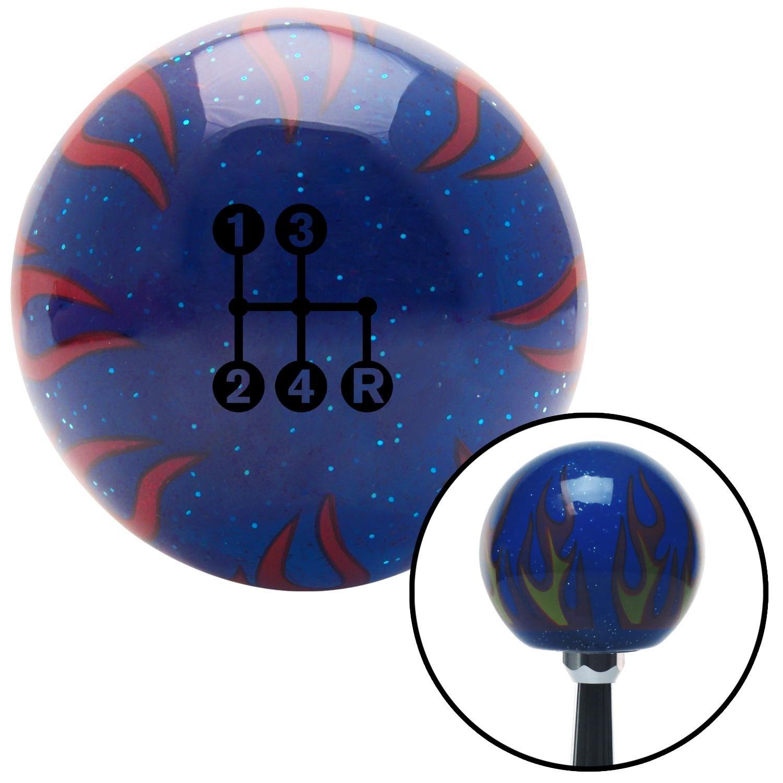 Black 4 Speed Shift Pattern - Dots 6n Blue Flame Metal Flake with M16 x 1.5 Insert American Shifter 298352 Shift Knob