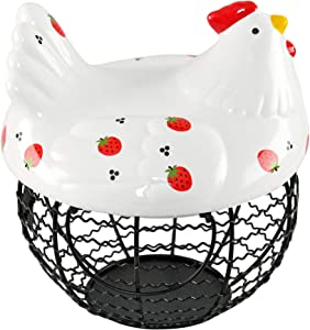 HOME-X Chicken Egg Basket for Egg Storage, Ceramic and Iron Decorative Basket with Chicken Design, Farmhouse Kitchen Decor, Holds 20–25 Eggs, Strawberry Print
