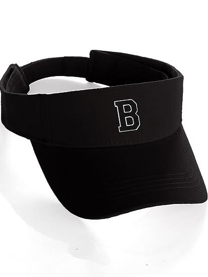 7ac19e9d257 Custom Sport Sun Visor Hat A-Z Initial 3D Raised Letters Cap - Black Visor  White Black