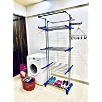 TNC Made in India Rust Free Floor Mounted Clothes Drying Stand Stainless Steel Floor Cloth Dryer Stand (Blue)