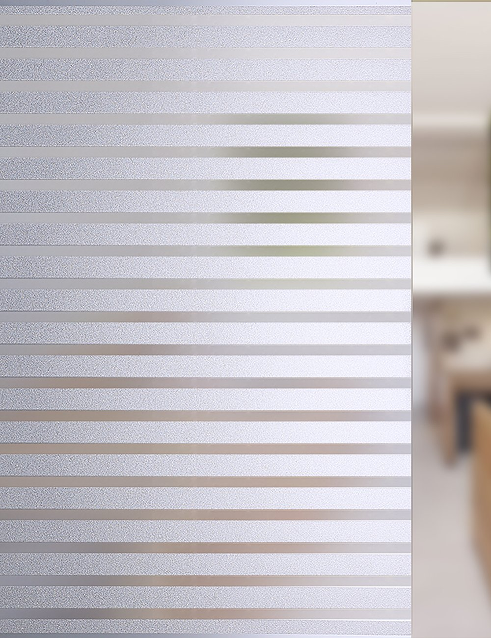 FancyFix Privacy Stripe No-glue Window Film PVC Matte Frosted Static Cling Window Film for Home Classroom Office Meeting Room Kitchen 35.4in x 78.7in