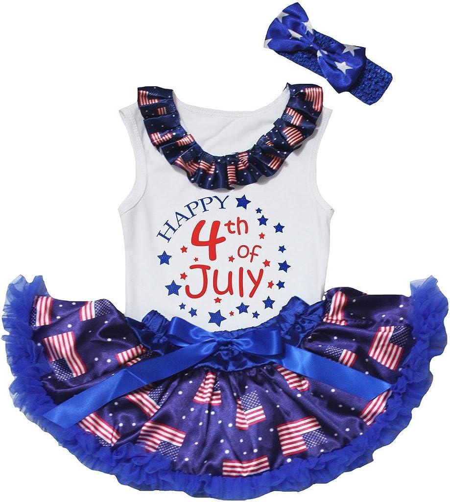 petitebella Happy 4th of JulyホワイトシャツUSAフラグブルーベビースカートセット3 – 12 M