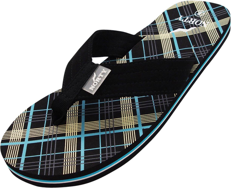 NORTY - Men's Plaid Thong Flip Flop Sandal, Black 40588-13D(M) US