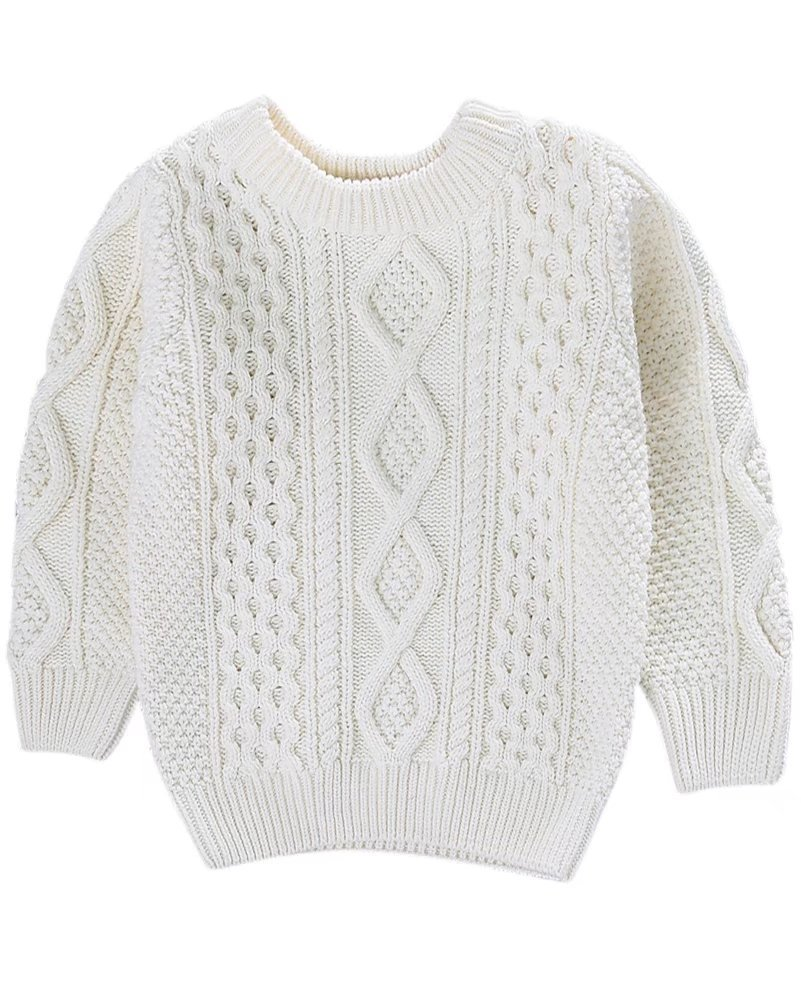 Kids Long Sleeves Crew Neck Vintage Chunky Twist Pattern Pullover Jumper Sweater for Toddler Baby, Little & Big Boys, Girls, White 2-3 Months = Tag 100