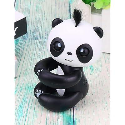 Dozenla Finger Intelligent Interactive Toy Cartoon Panda Shape Electronic Sleep Robot Puppets with Voice for Kids Christmas Gift (Black)