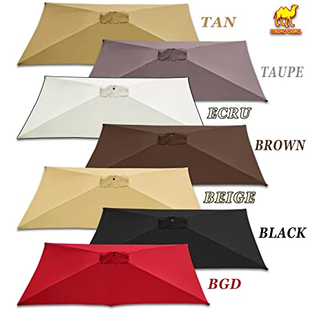 Strong Camel Replacement Umbrella Canopy for 10ft x 6.5 ft 6 ribs Patio Umbrella Top Cover Outdoor Market Canopy Only Burgundy