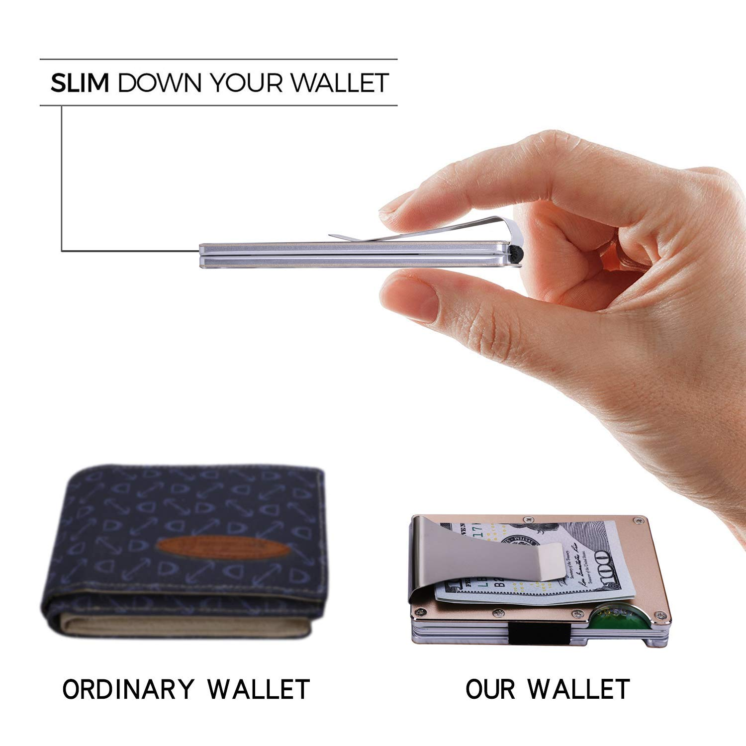 RFID Blocking Mens Wallet Aluminum Slim Wallet Minimalist Wallet for Cards and Cash,Front Pocket Wallets for Men(Black)