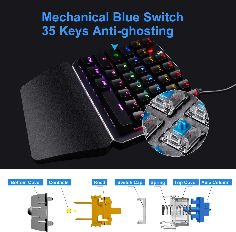 Gaming Keyboard One Handed Keyboard SADES RGB LED mechanical keyboard for PUBG//LOL DE-TS35-Blue