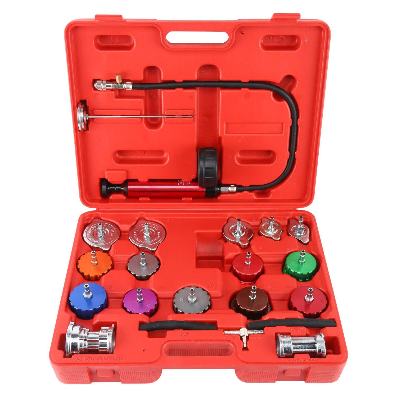 FreeTec 21pcs Radiator Pump Pressure Leak Tester Checker Tool Kit Aluminum Adapters Set