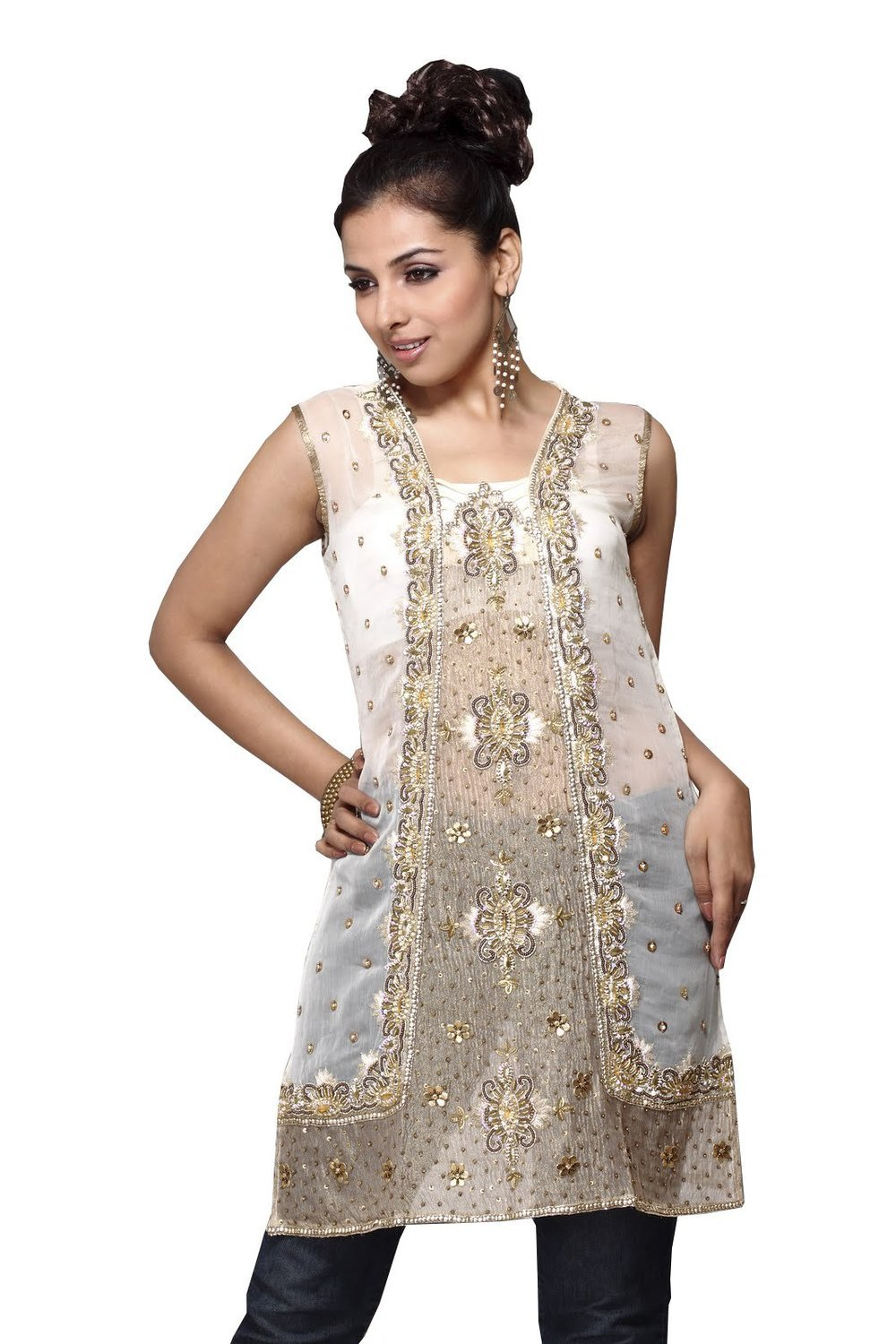 Attractive White Georgette Tunic Full Stone Work Party Dress (xs)