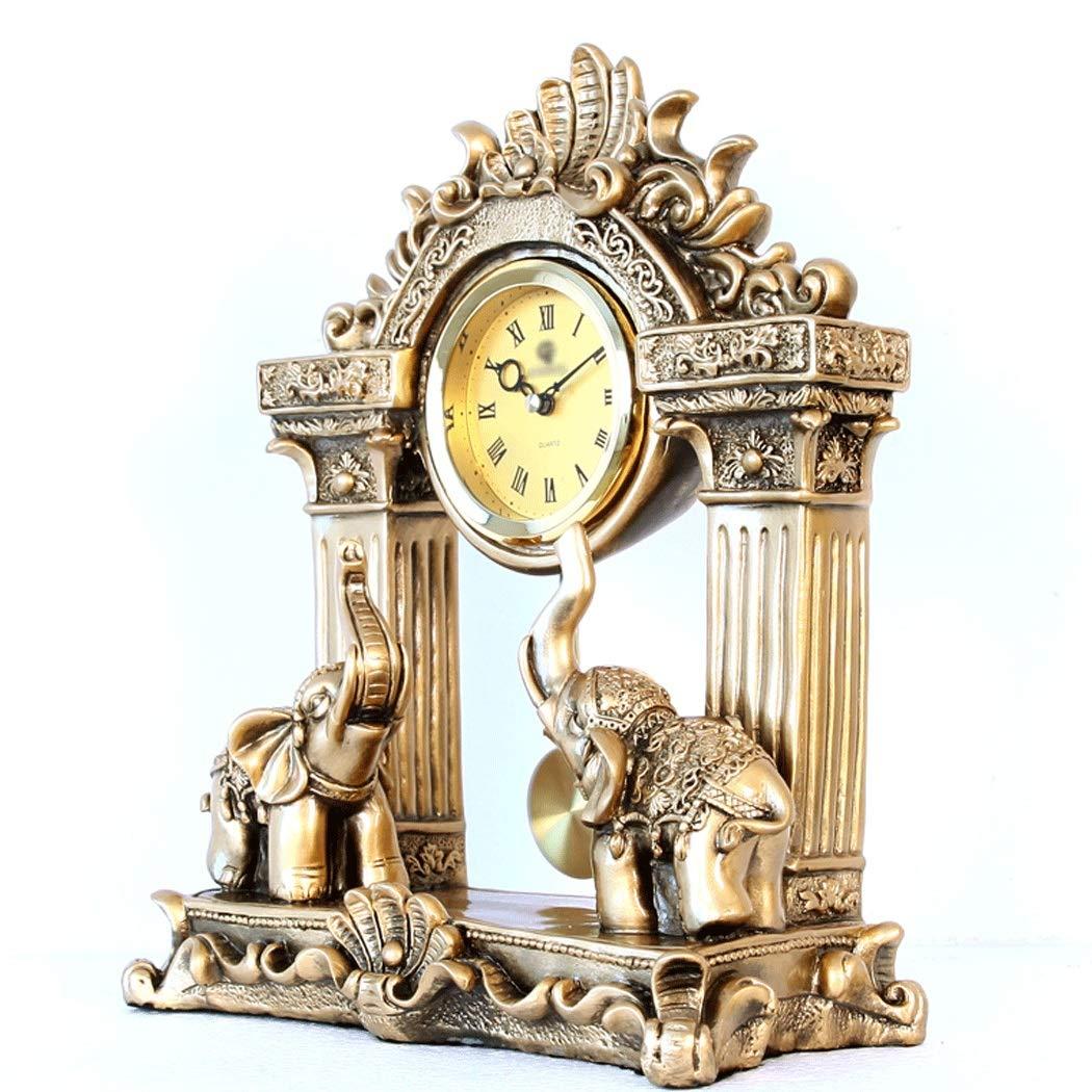 HONGNA European Mute Resin Clock Clock Lucky Town House Elephant Pendulum Clock Retro Quartz Table Clock Living Room Creative Desktop Decoration Clock (Color : B) by HONGNA (Image #7)