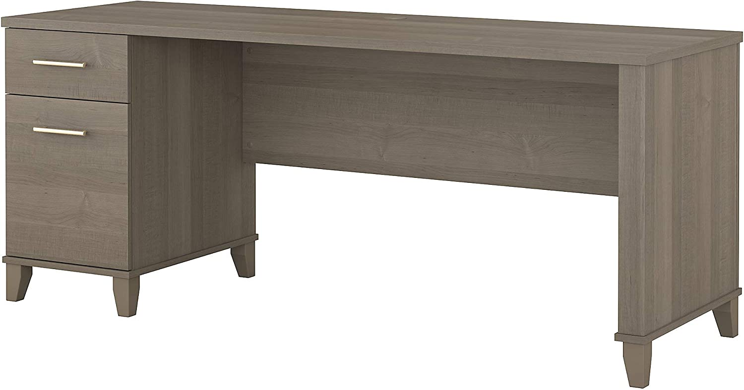 Bush Furniture Somerset Office Desk with Drawers, 72W, Ash Gray