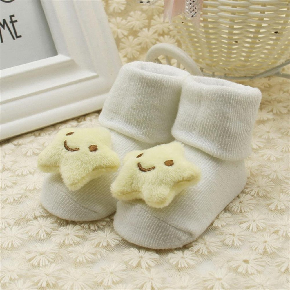 Botrong Baby Kids Unisex Comfortable Star Cute Cotton Sock Slippers Warm Ankle Socks