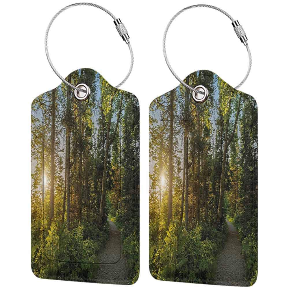 Multicolor luggage tag Landscape National Park in Cape Breton Highlands Canada Forest Path Trees Tranquility Photo Hanging on the suitcase Blue Green W2.7 x L4.6