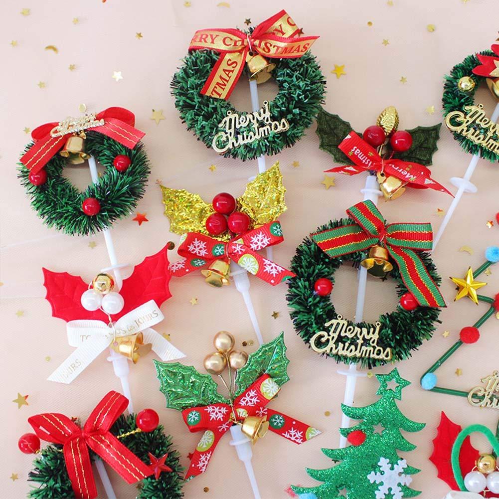 ghirlanda per casa Natale baby shower compleanno albero cupcake 24 pezzi campana Decorazioni natalizie per torte graziose decorazioni da tavolo stelle