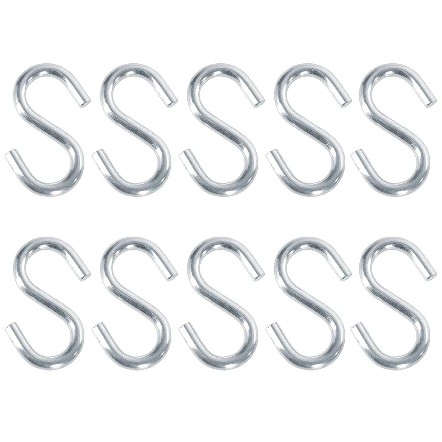 10x Durable S-Hooks For Storage & Hanging | 3'/75mm White Hinge