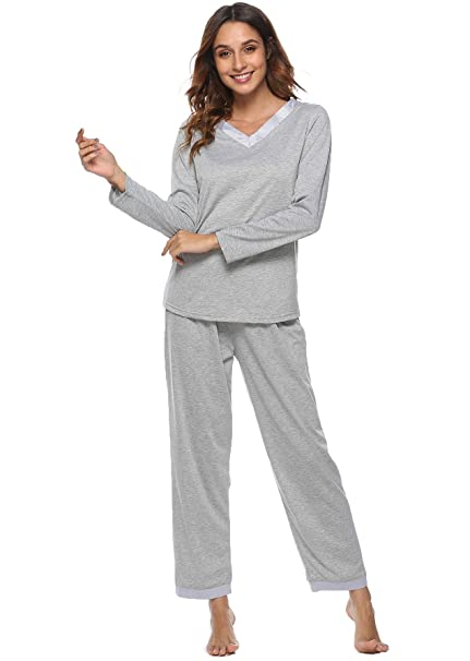 3ab8dbd0b7e7 Etosell Women s Pajamas Long Sleeves Lounge Wear PJ Sets Cotton Pjs  Sleepwear (Small