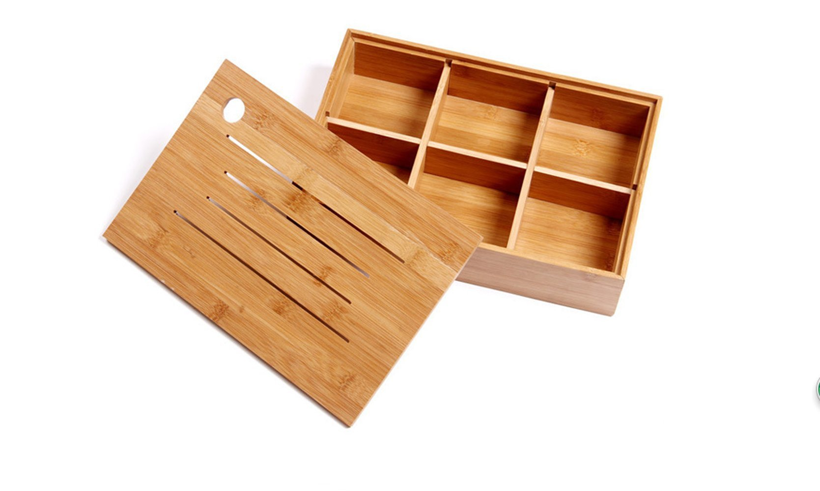 Wood Box,AOLOX Creative Bamboo Tea Bag Storage Box Multi Sectional Snack Serving Tray Set with Lid,Suitable for Tea Bag ,Dried Fruits, Nuts, Candies Holder and sock,Underwear-6 Compartments