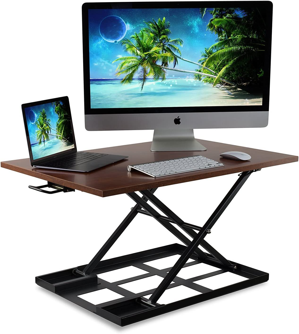 Standing Desk Ergonomic Height Adjustable Sit Stand Desk Brown Mount-It Holds up to 20 Pounds 32x22 Inch Preassembled Stand-Up Desk Converter Large Surface