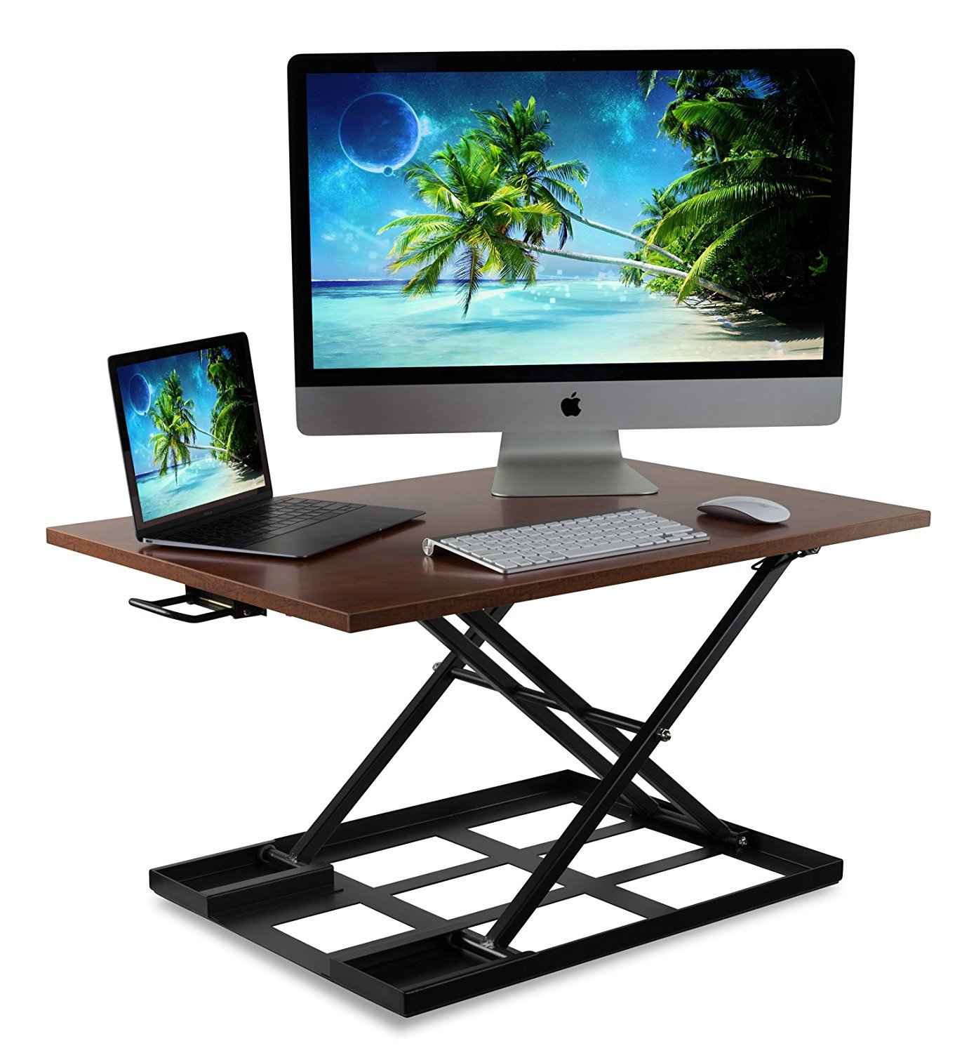 Mount-It! Corner Standing Desk Converter, 48 Wide Adjustable Height Tabletop Sit Stand Up Desk for Cubicles, Removable Spacious Keyboard Tray Platform MI-7958