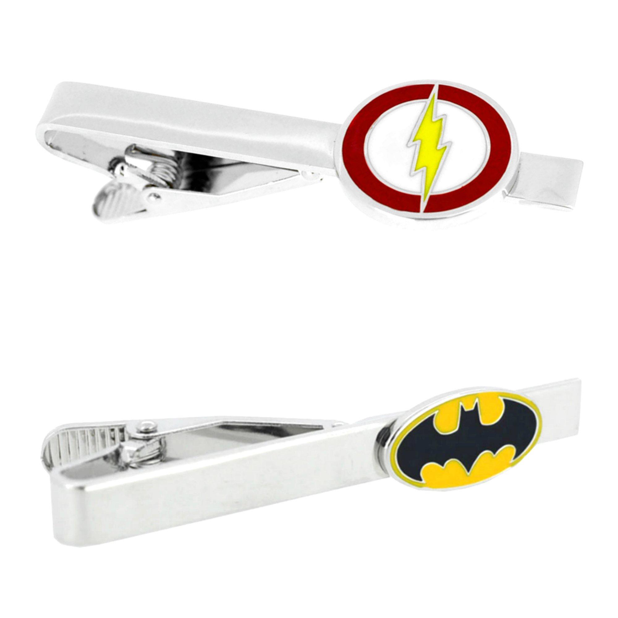 Outlander DC Comics - Flash & Batman - Tiebar Tie Clasp Set of 2 Wedding Superhero Logo w/Gift Box