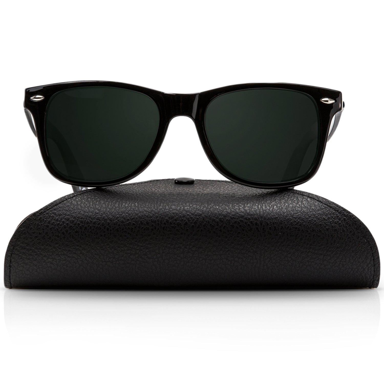Wayfarer Polarized Sunglasses for Men and Women | UV400 Protection Factor Lenses with Maintenance Set by REVOLUTTI (Shiny Black, Black) by REVOLUTTI