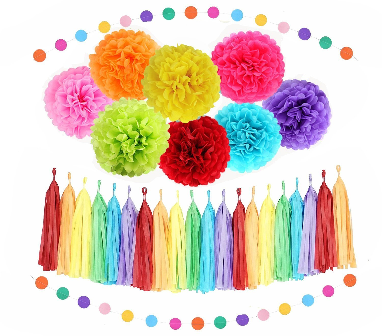 Sopeace Assorted Rainbow Colors Tissue Paper Pom Poms Flower Balls Papers Lanterns Circle Garland Multi Color Theme for Birthday Wedding Christening Party Decorations