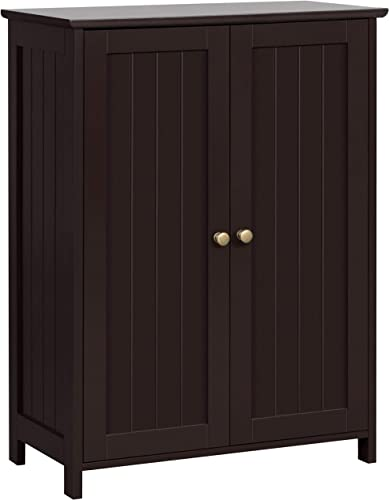 YAHEETECH Bathroom Floor Cabinet, Free-Standing Storage Cabinet with 2 Doors Inner Adjustable Shelves, 23.6in L x 11.8in W x 31.7in H, Wooden, Espresso