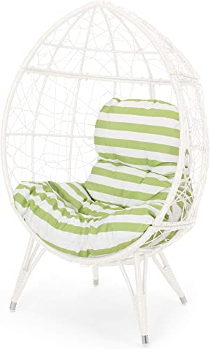 Valerie Outdoor Wicker Teardrop Chair with Cushion, White and Green