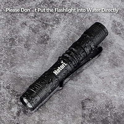 Hatori Pack of 4 Mini Flashlights Set Super Small AAA LED Lamp Belt Clip Torch