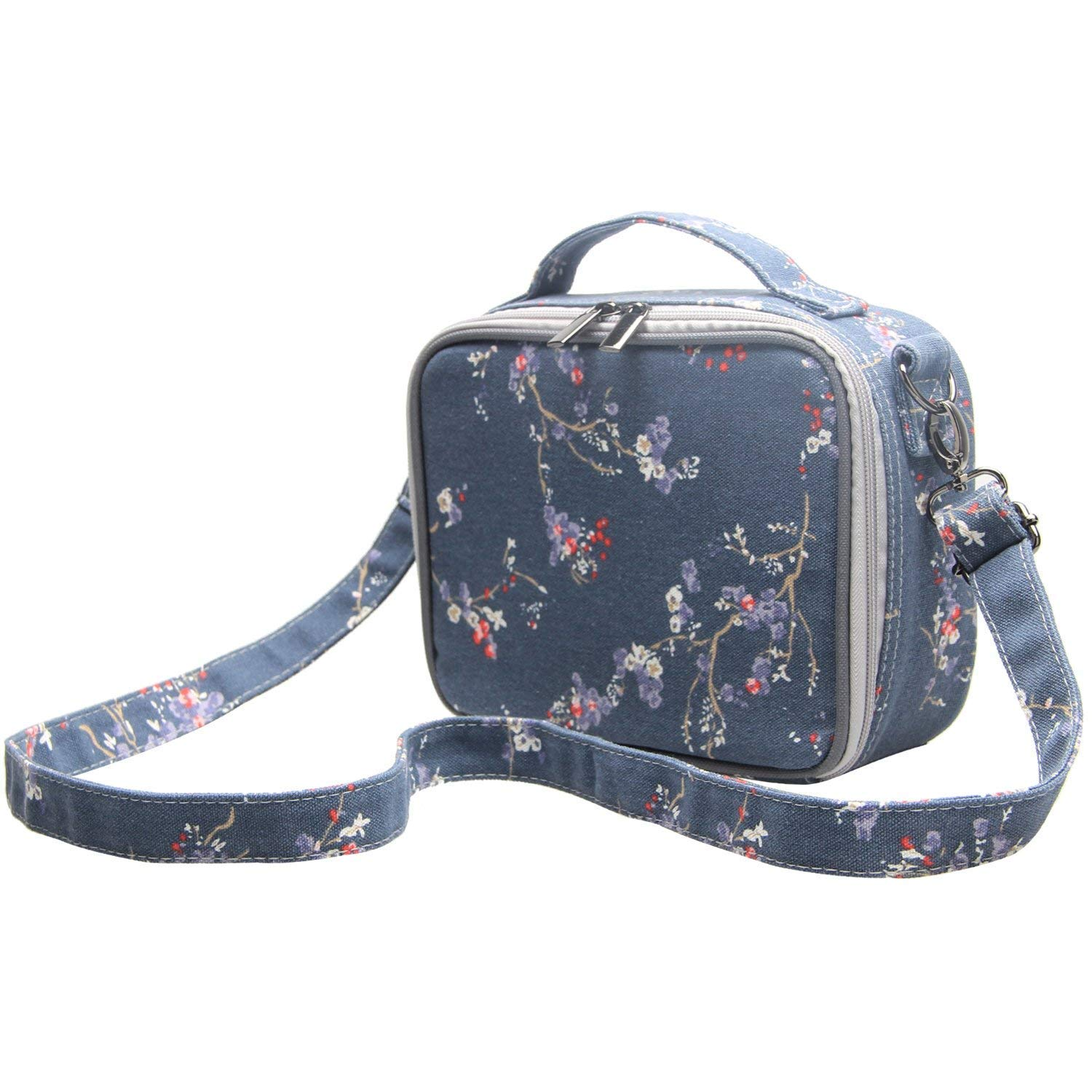 Teamoy Colored Pencils Case, Travel Gadget Bag with Handle and Shoulder Strap, Stylish and Multi-Purpose, Perfect Size for Travel or Daily Use-NO Pencils Included, Plum Flowers