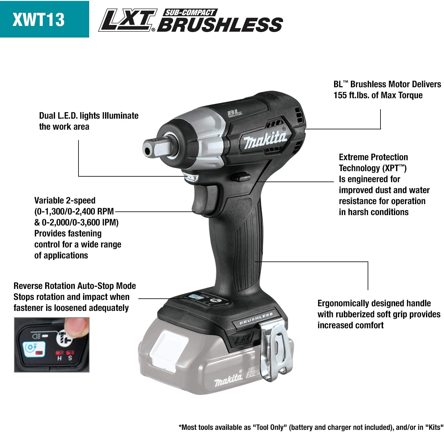 "New Makita XWT13ZB 18V Sub Compact Brushless 1//2/"" Impact Wrench 2.0 Ah Battery"