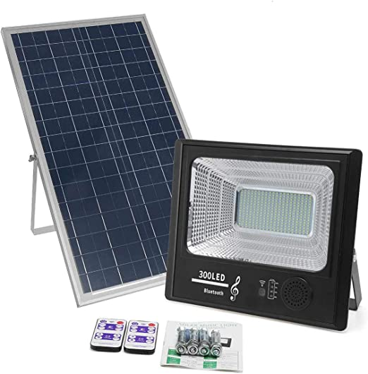 100W 200W Solar LED bluetooth Flood Light Garden Outdoor Security Wall Lamp