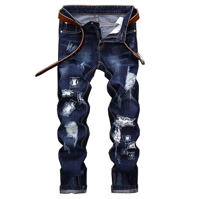 Pantalones Casuales De Los Cintura Mediados Hombres Recta De ...