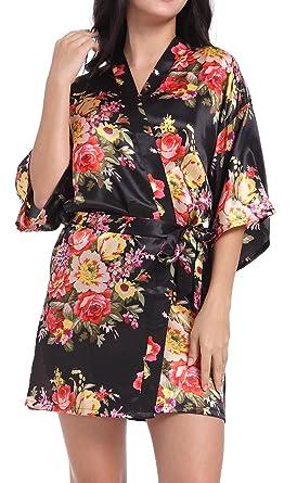 2d9164a793 DF-deals Women s Satin Floral Robes for Bride and Bridesmaid Wedding Party  Kimono Silk Robes