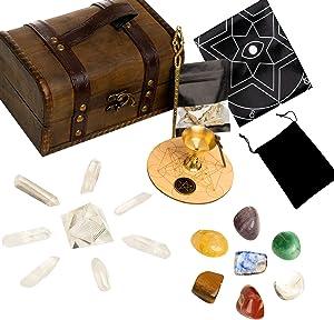 HEXER HAN Crystals and Healing Stones Set, 24 PCS 7 Chakra Balancing Crystals Wands and Energy Generator Altar Kit with Tumbled Stones,Tarot Cloth,Sage for Meditation/Spiritual Healing/Smudging