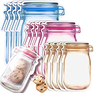 Fireboomoon 30 PCS Multi-Size Mason Jar Bottle Pattern Zipper Bags,Reusable Airtight Seal Leak-Proof Portable Food Snack Save Storage Pouch Bag for Travel Picnic Camping and Kids
