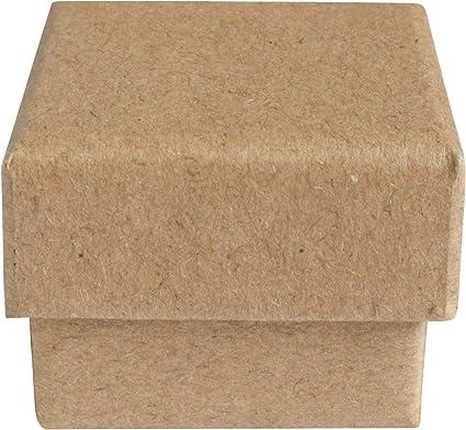 Emartbuy Conjunto de 48 Carton Marron Joyería Cajas Colgantes, Cajas de Anillo, Caja de Regalo Para Aniversarios, Bodas Cumpleaños Tamaño - 4 cm x 4 cm x 3 cm: Amazon.es: Oficina y papelería