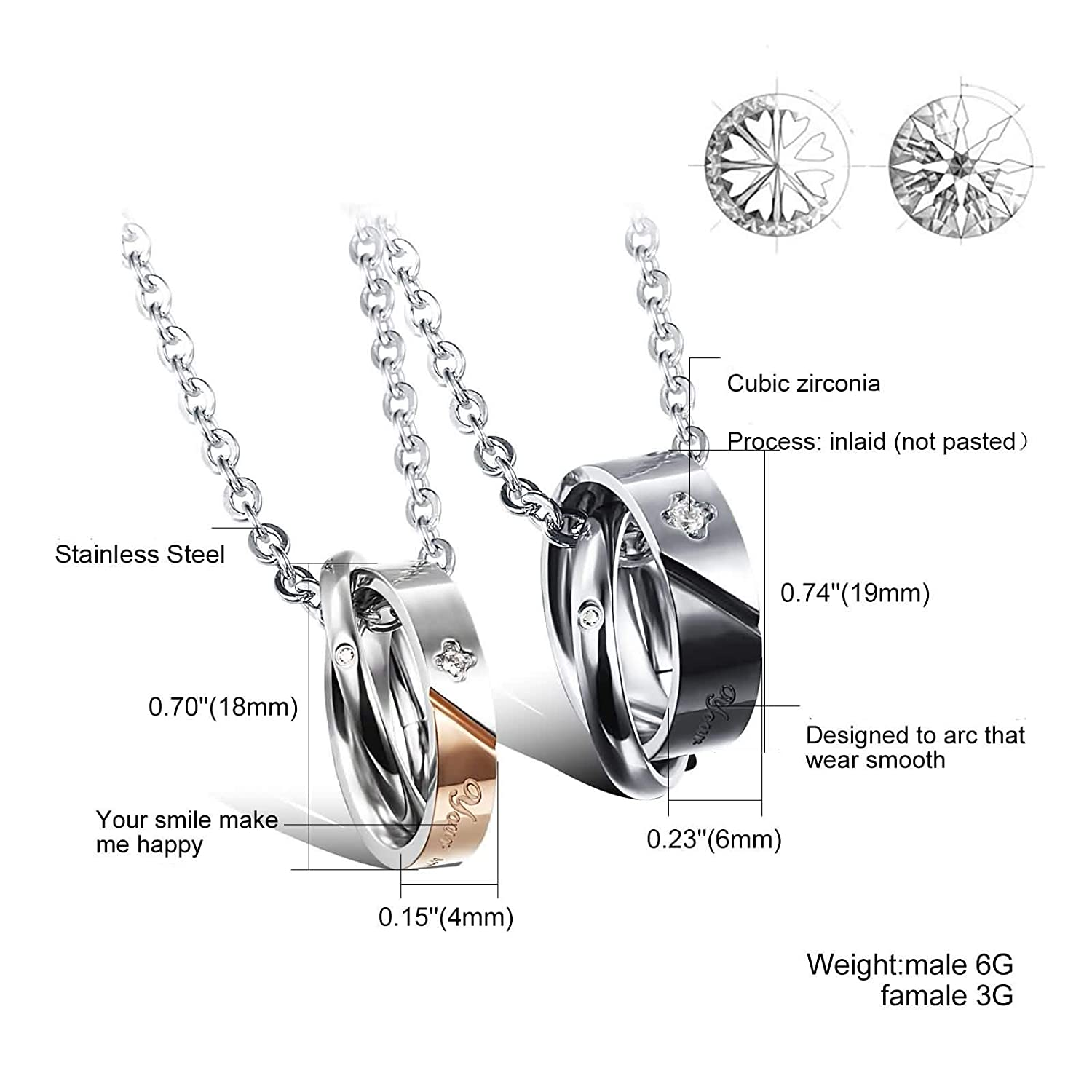 Amdxd Stainless Steel Couple Necklace Circles Your Smile Make Me
